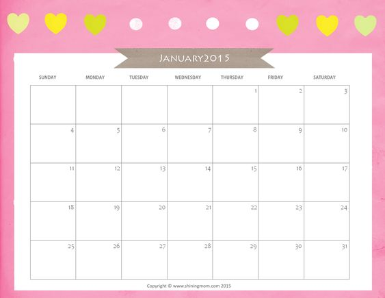 January 2017 Calendar Printable Template 3 For Kids Pinterest - attendance calendar template