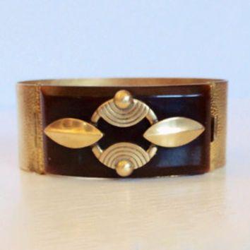 Deco Bakelite Brass Bracelet Cuff Bangle Clamp Vintage