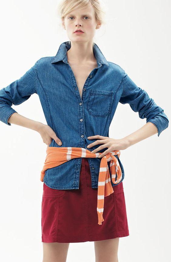 Caslon® Corduroy Skirt, paired 6 Ways: One Pocket Shirt in Dark Denim & Raglan Stripe V-neck Cardigan #Nordstrom #AugustCatalog