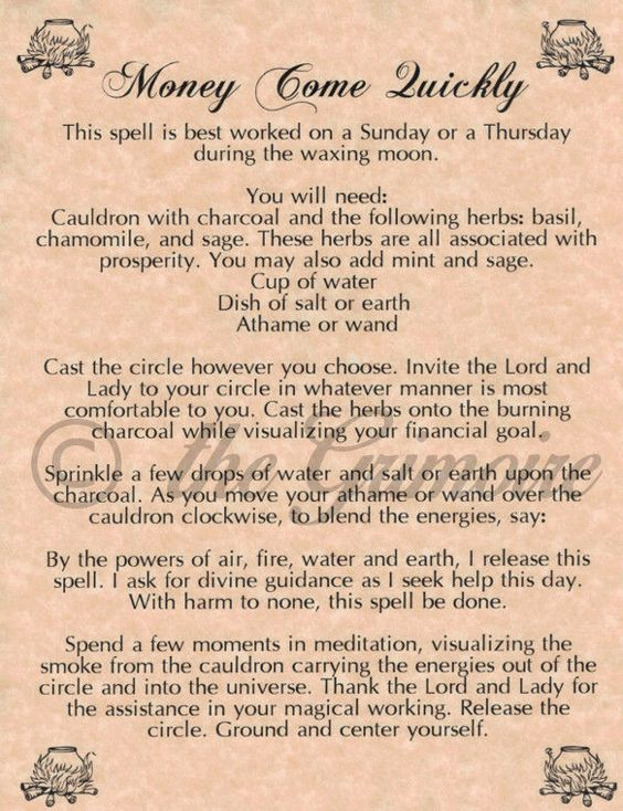 Magick Spells:  Money Come Quickly #Spell.- Pinned by The Mystic's Emporium on Etsy