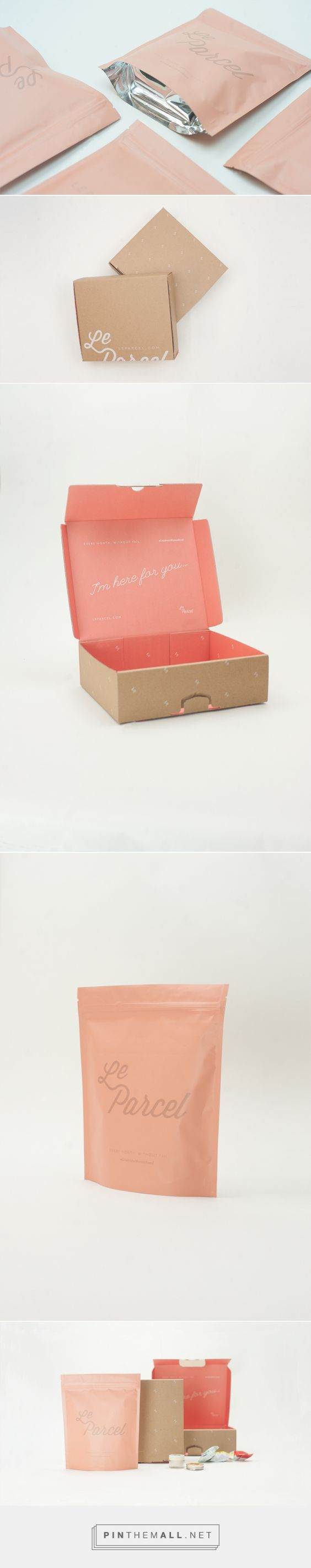 """Le Parcel Packaging System by Seven Fifty Five curated by Packaging Diva PD. Third in a series of packaging design systems a monthly delivery service for """"that time of the month"""" includes a lighter-weight box, heat sealed bags, and a bright pink interior."""