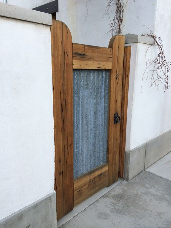 Corrugated metal and timber outdoor gate outside design