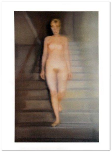 """Gerhard Richter: """"Ema (Akt auf einer Treppe)"""", Offsetdruck, 37 x 44 cm, handsigniert von Gerhard Richter unten rechts, UNIKAT, nach dem gleichnamigen Ölgemälde von 1966."""