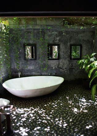 indoor outdoor bath.