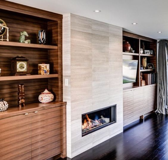 Built In Bars Next To Fireplaces Ideas For Contemporary
