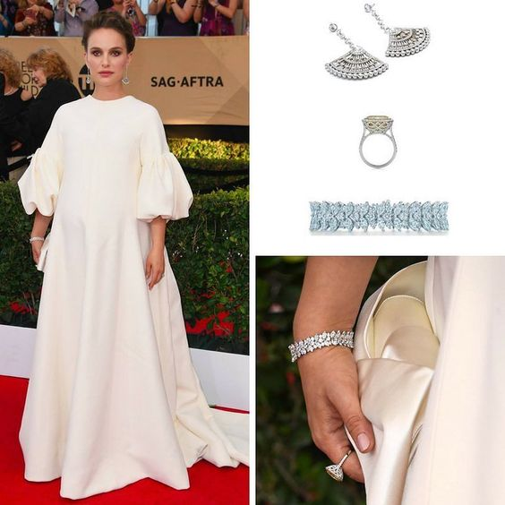 At this year's SAG Awards Natalie Portman went for Tiffany and Co @tiffanyandco jewelry pieces in Earrings in Platinum with Mixed Cut Diamonds Bracelet in Platinum with Mixed Cut Diamonds and Ring in Platinum with Diamonds and a Yellow Sapphire. She also