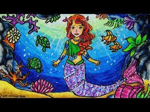 Cara Menggambar Dan Mewarnai Putri Duyung Mermaid Gradasi Warna
