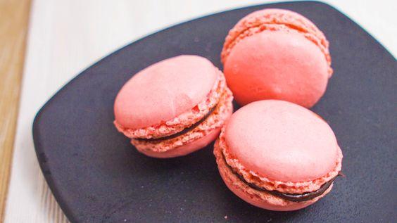 Strawberry Chocolate Hazelnut Macaron