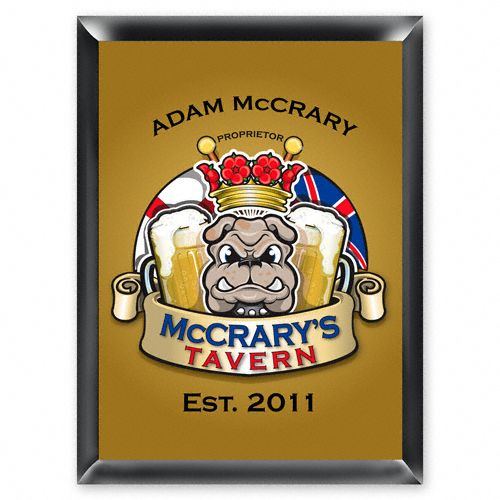"Your groomsmen will be ""open for business"" with this personalized English Bulldog Pub Sign. Each design is printed directly onto the wood base for lasting quality."