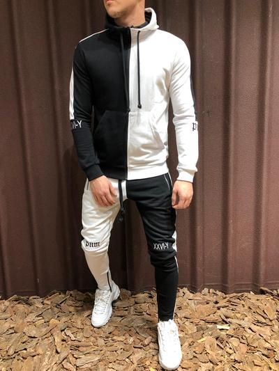 NSEW Block TrackSuit Sweatpant Hoodie Sweater - White Black 4250