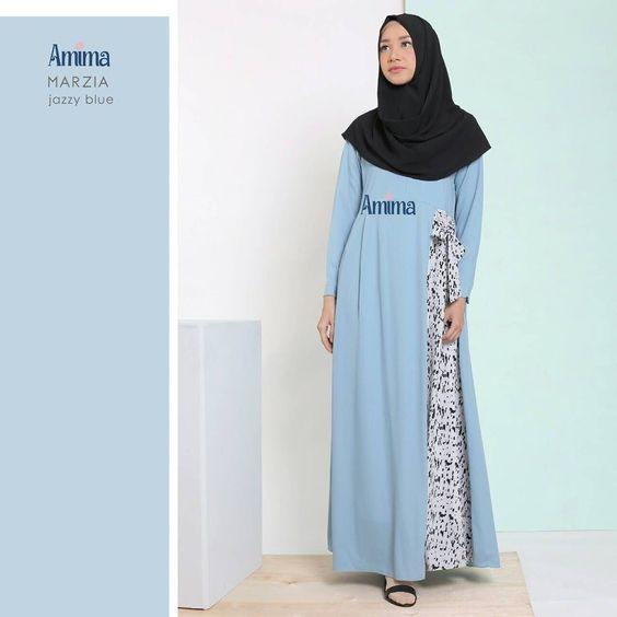 Gamis Amima Marzia Dress Jazzy Blue Baju Muslim Wanita