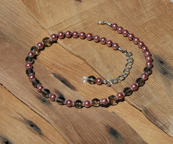 Rose & Grey Necklace Mauve Pearl Necklace by ARCTURUSCreations