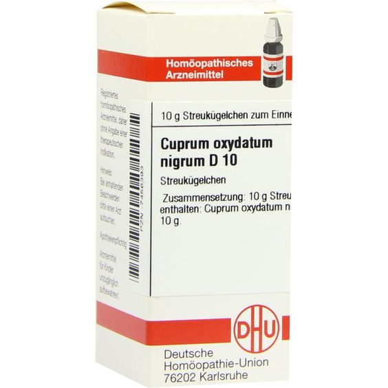 CUPRUM OXYDATUM nigrum D 10 Globuli:   Packungsinhalt: 10 g Globuli PZN: 07456393 Hersteller: DHU-Arzneimittel GmbH & Co. KG Preis: 5,19…