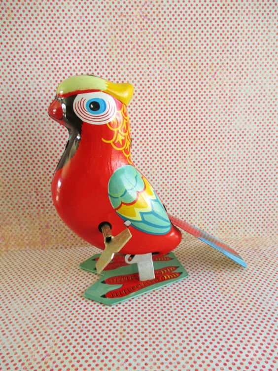 Vintage Wind Up Parrot Tin Toy by 5and10vintage on Etsy