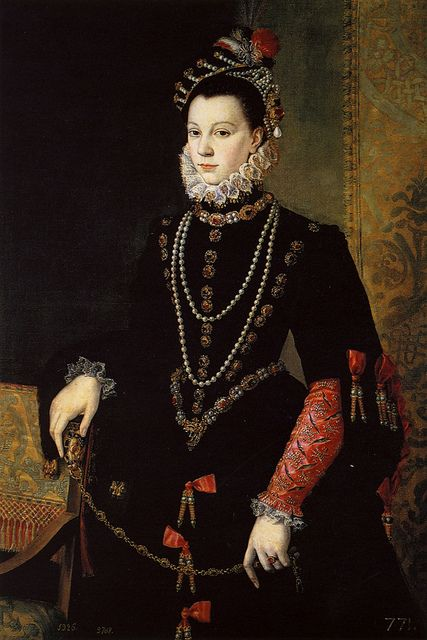 Queen Isabel de Valois, 3rd wife/consort of King Phillip II of Spain by Italian Painter Sofonisba Anguissola 1563-1565. Anguissola went to Spain to be Isabel's painting teacher.: