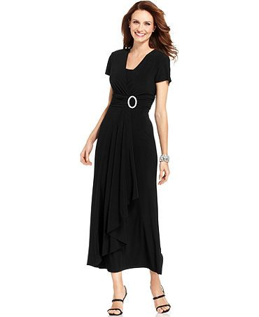 Modest dresses long below the knee black maxi evening dress with ...