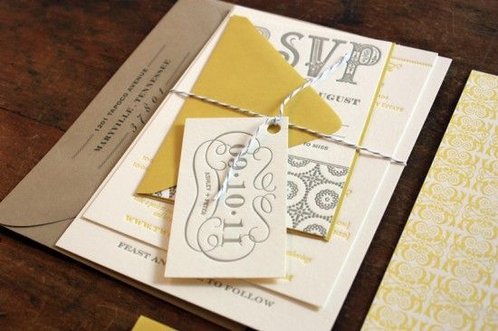 Yellow and gray letterpress invitation suite