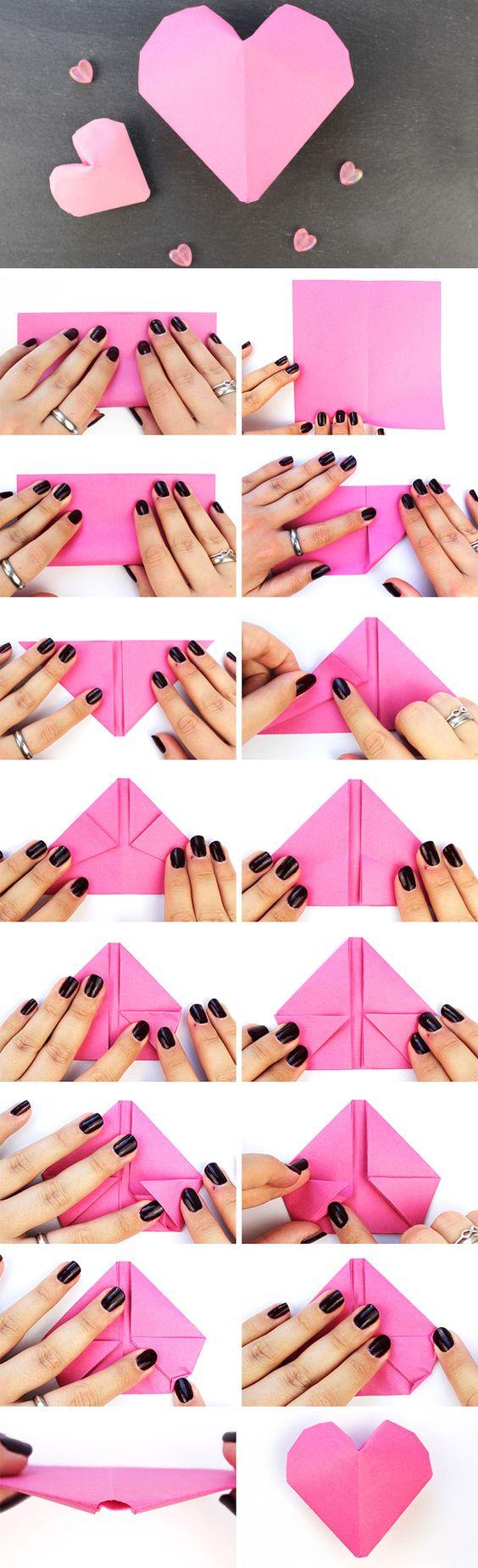 3d origami herz faltanleitung origami falten anleitung papier basteln origami. Black Bedroom Furniture Sets. Home Design Ideas