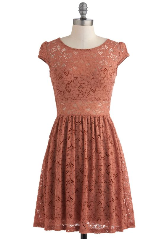 Cinnamon and Nice Dress - Orange, Lace, Party, A-line, Fall, Short, Cap Sleeves, Film Noir, French / Victorian
