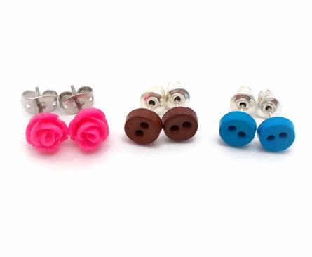 Tiny Pink Rose Blue & Brown Button Earrings for Sensitive Ears