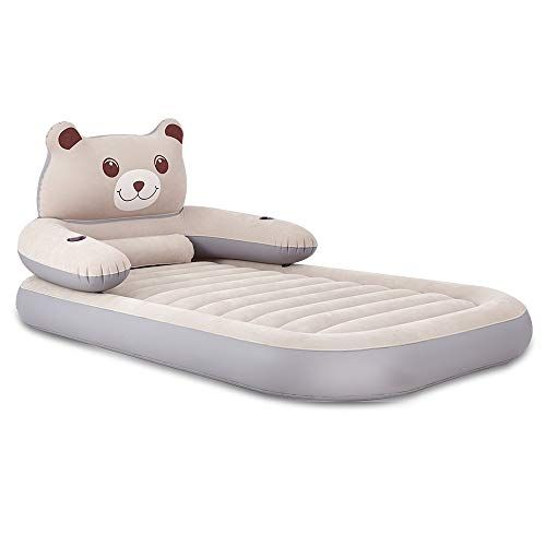 Sweesire Air Mattress Kids Cartoon Panda Air Bed With Cup Holder Detachable Backrest Inflatable Bed For Home Travel Camp Pa Inflatable Bed Air Bed Air Mattress