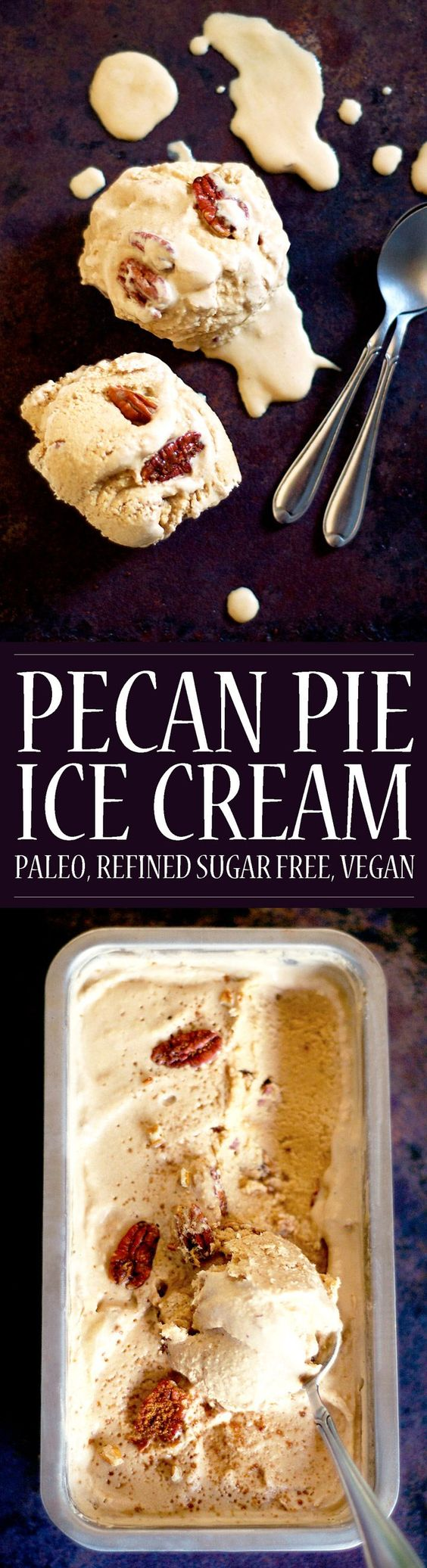 Pecan Pie Ice Cream! Vegan, paleo and refined sugar free! A healthier treat for Thanksgiving or otherwise! Super easy with or without an ice cream maker.
