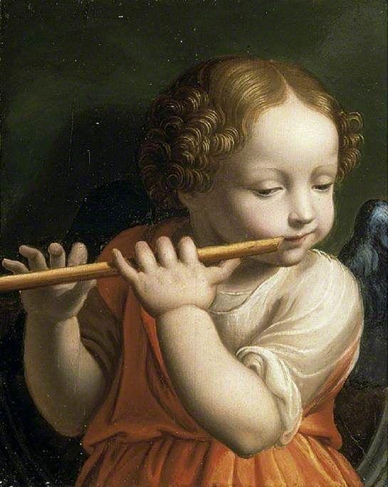 Бернардино Луини. Ангел играет на флейте. Фитцуильям-музей. Трампингтон-стрит, Кембридж.