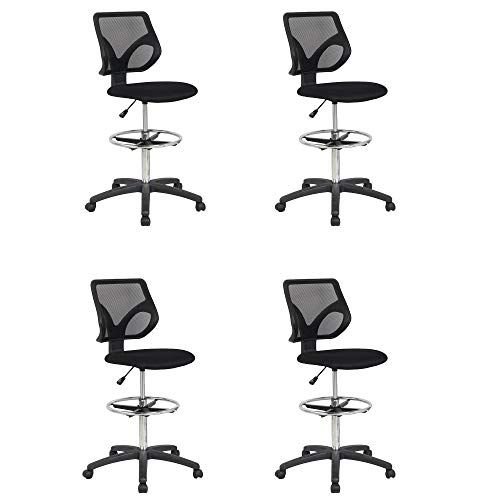 Cool Living Mesh Fixed Upright Adjustable Height Drafting Chair Black 4 Pack Drafting Chair Restoration Hardware Chair Eames Dining Chair