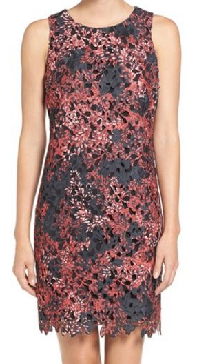 Vince Camuto print lace sleeveless shiftdress