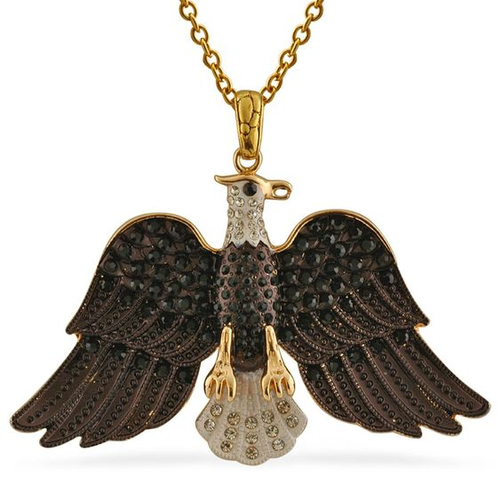Liquidation Channel | Creature Couture: Black and White Austrian Crystal Eagle Pendant with Chain in Stainless Steel | #CreatureCouture