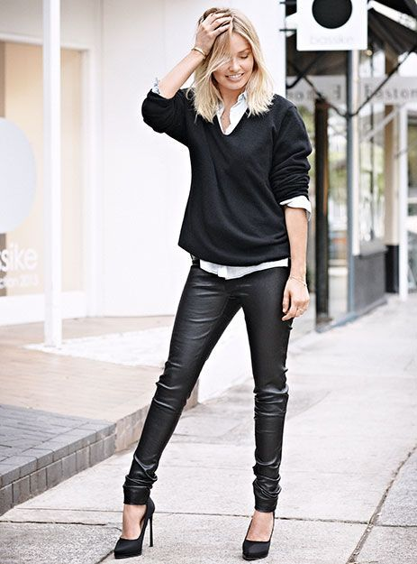 white and black leather pants - Pi Pants