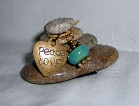 Rock Cairn PEACE LOVE by CedarwoodCreations on Etsy, $11.00