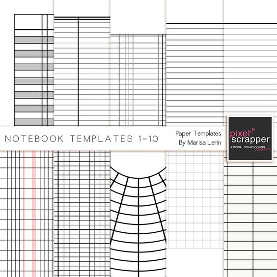 Notebook Paper Templates 1 10 Kit By Marisa Lerin Pixel Scrapper   Lined  Notebook Paper  Lined Notebook Paper Template