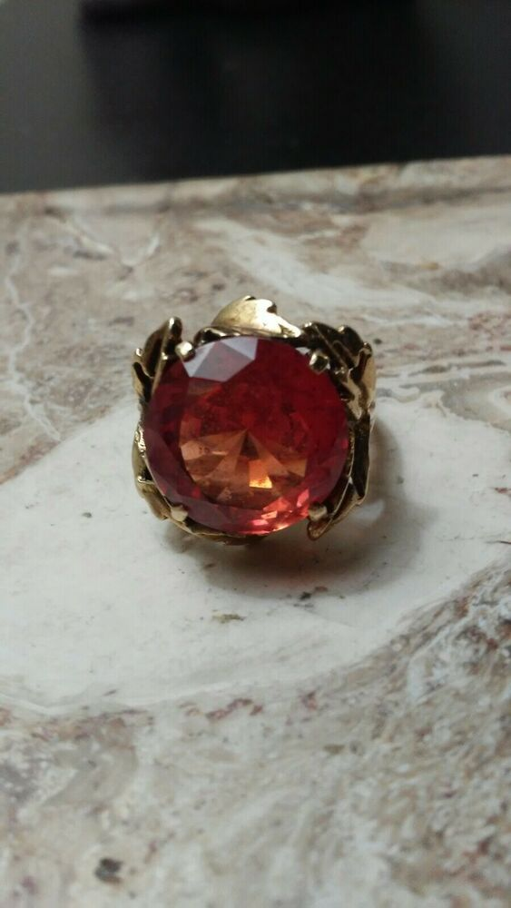 Vintage Spring 10k Padparascha Sapphire Ring Vintage Sapphire Ring Pink Sapphire Necklaces Sapphire Necklace Pendants