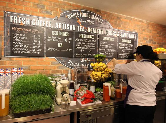 Fresh juices and fresh food - we highly recommend the falafel wraps at Whole Foods!