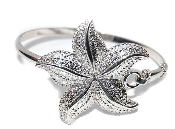NEW STERLING SILVER .925 LARGE STARFISH BANGLE BRACELET #Bangle