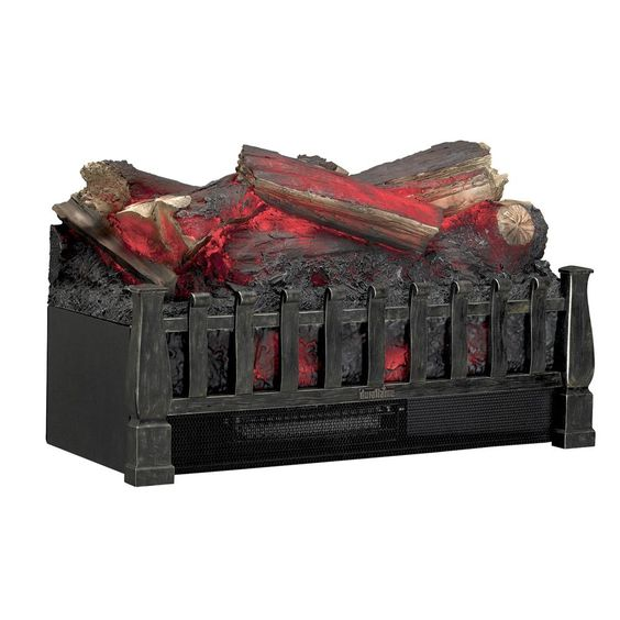 Duraflame DFI021ARU Electric Log Set Heater with Realistic Ember Bed, Antique Bronze.  The realistic log set and ember bed sit in an Antique Bronze finish fire grate and feature a rolling, pulsating flame effect that works with or without heat.