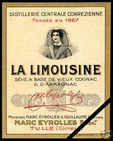 French Vintage Alcohol Liquor Wine Label Original Cognac La Limousine France