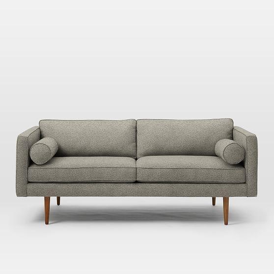 Cool Monroe Mid Century Loveseat Twill Gravel At West Elm Machost Co Dining Chair Design Ideas Machostcouk