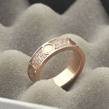 Hight quality fashion jewelry silver crystal carter ring for women rose gold&gold plated love rings  nail ring men Wholesale