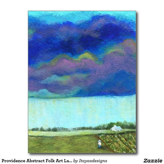 SOLD!!  Providence Abstract Folk Art Landscape Painting Postcard