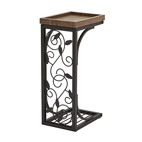 Metal Side Table With Wooden Tray