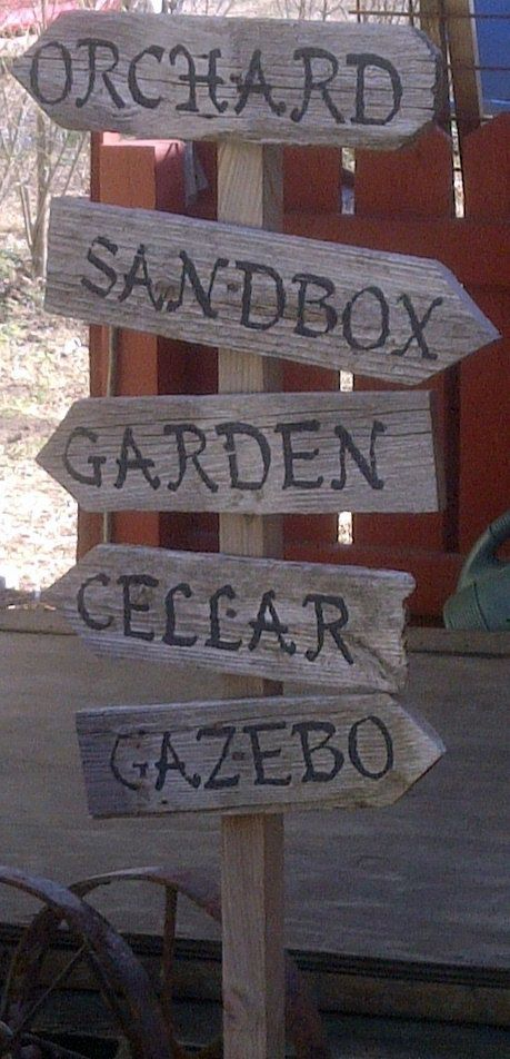 Personalized Garden Sign Hand Painted Recycled Wood. $25.00 USD, via Etsy.: