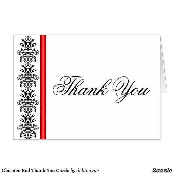 Classico Red Thank You Cards: