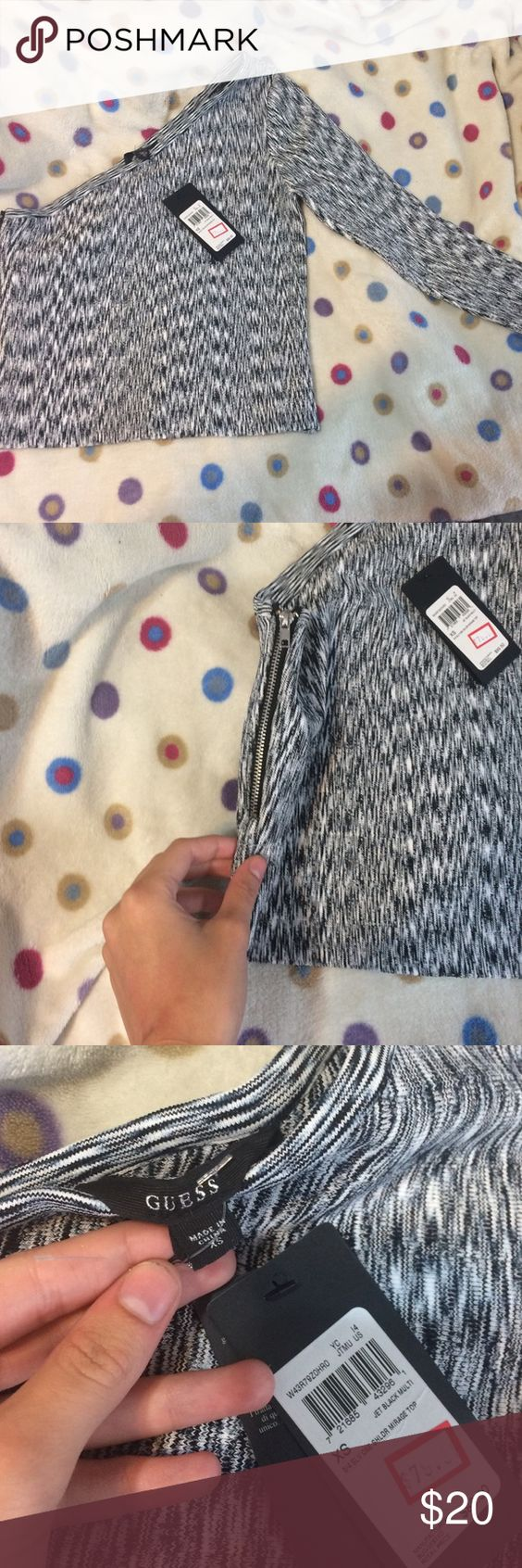 Nwt Guess one sleeve fitted crop Super cute just doesn't fit me the way I want it too! Originally $90 but was on sale for $80! Check out my closet and make a bundle! GUESS Tops Crop Tops