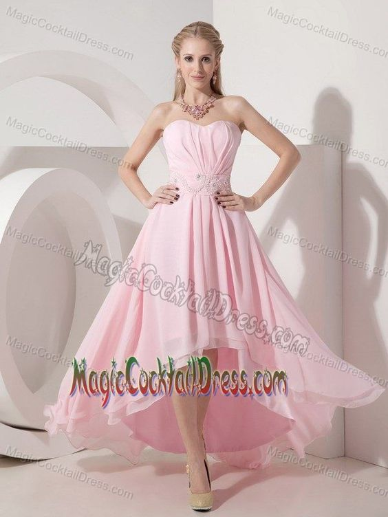 High-low Baby Pink Empire Cocktail Dress Sweetheart with Beading ...