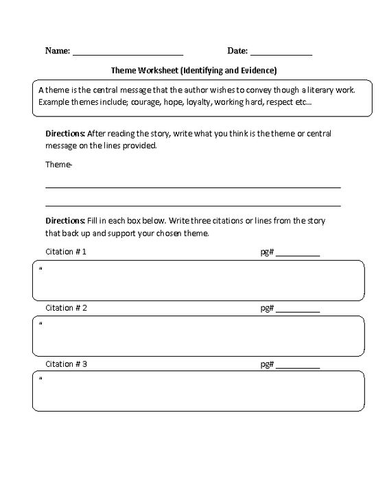 Identifying and Evidence Theme Worksheet parcc – Theme Worksheets