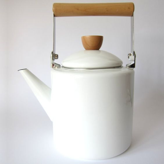 white enamel midcentury teapot by nuukk on Etsy, $49.00