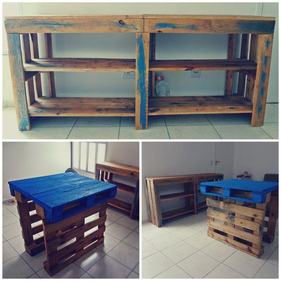 mesa e estante de pallet
