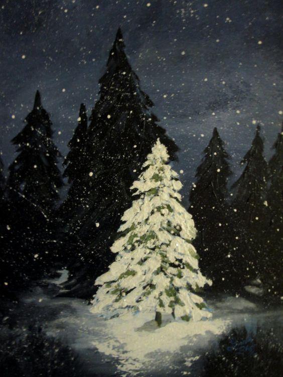 Christmas Tree Painting Original Christmas Trees Snow
